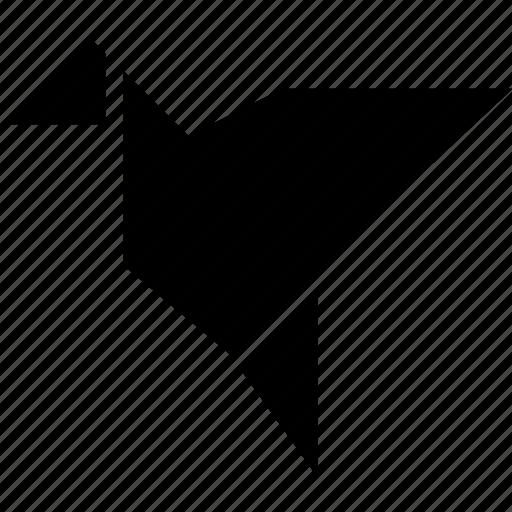 bird, crane, freedom, origami, paper icon