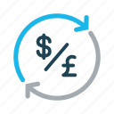 conversion, currency, dollar, exchange, money, pound, transfer icon