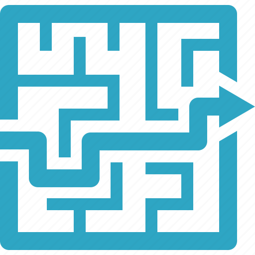 business strategy, finding solution, labyrinth, maze icon