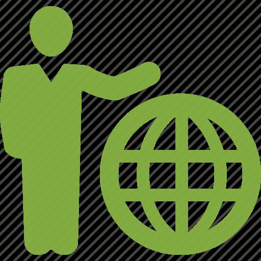 businessman, global business, global communication icon