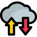cloud arrows, cloud computing, cloud service, cloud storage, data transfer icon