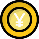 cash, finance, money, yen, yen coin icon