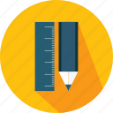 and, materials, pen, pencil, ruler, tools, utensils icon