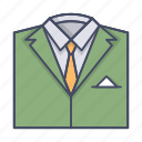 business, fashion, man, suit, tie icon