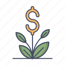 capital, dollar, growth, increase, plant icon