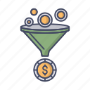conversion, filter, funnel, money, sort, tools icon