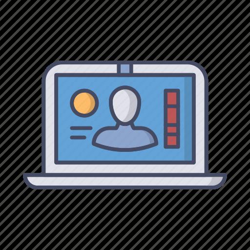 account, avatar, laptop, person, profile, user icon
