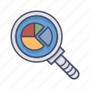 diagram, magnifier, pie chart, research, search icon