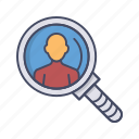 business, employee, hr, human, manager, person, search icon