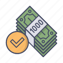 check, currency, debit, money, profit, turnover icon
