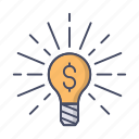 bulb, business, creative, idea, light, lightbulb, money icon