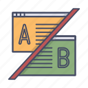 ab testing, compare, feedback, split, test, usability icon