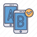 ab, check, conformity, hypothesis, smartphones, testing, usability icon