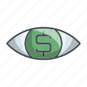 dollarmoney, eye, search, view, vision icon
