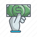 buy, hand, money, shop icon