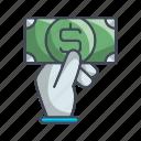 buy, hand, money, shop