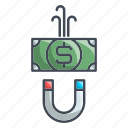 cash, financial, magnet, money icon