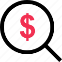 business, dollar, search, sign icon