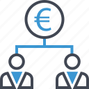 business, euro, group, sign, team icon