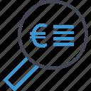 description, euro, find, look, money, search, sign icon