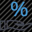 hand, hands, money, percent, percentage icon