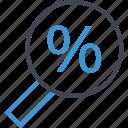 find, online, percent, percentage, search, web icon