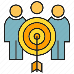 arrow, dart, focus, group, people, target icon