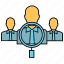 human resource, magnifier, manpower, people, recruitment, teamwork icon