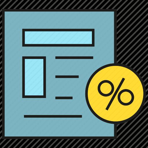 calculate, check, cheque, discount, percentage, receipt icon