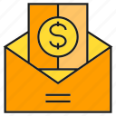envelope, finance, mail, money, salary icon