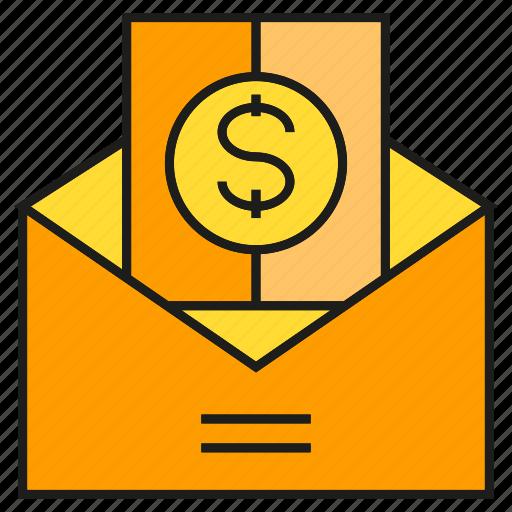 envelope, finance, mail, money, salary icon