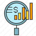 analysis, analytics, chart, finance, graph, magnifier, search icon