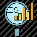 analysis, analytics, chart, finance, graph, magnifier, search