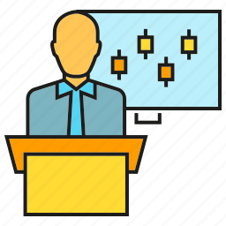 business man, chart, conference, office, podium, presentation icon