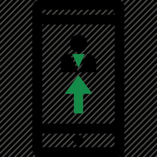 arrow, mobile, user icon