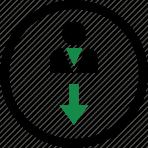 arrow, down, internet icon