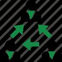arrows, data, internet, user