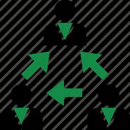arrows, data, internet, user icon