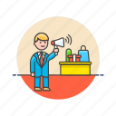 advertising, business, man, promotion, sale, sell, speak icon