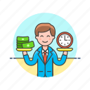 balance, business, income, time, cash, man, money icon