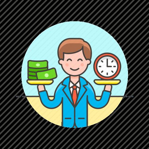 balance, business, cash, income, man, money, time icon
