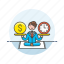 analytics, balance, business, dollar, income, man, money, time icon