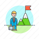 briefcase, business, challenge, done, flag, goal, man, mountain icon