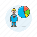 business, graph, analytics, chart, goal, man, report icon
