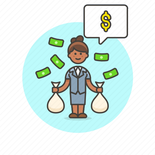 business, cash, income, money, salary, wage, woman icon