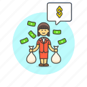 business, cash, dollar, income, salary, wage, woman icon