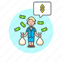 business, cash, dollar, income, money, salary, wage, woman icon