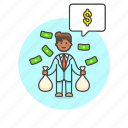 business, income, cash, dollar, man, money, salary, wage icon