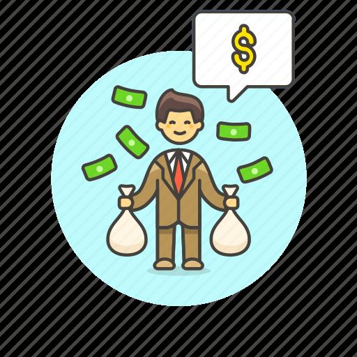 business, cash, dollar, income, man, money, salary, wage icon