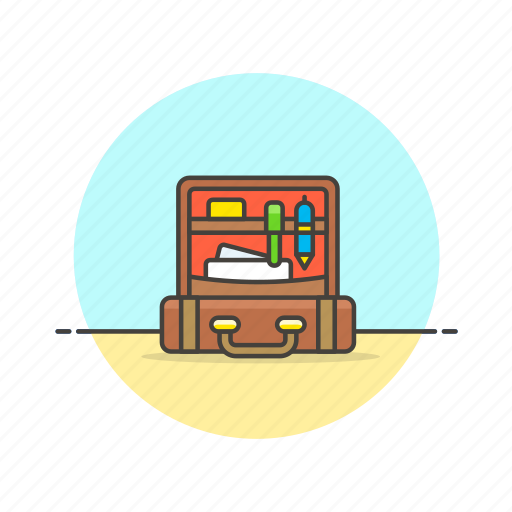 bag, business, luggage, office, open, professional, suitcase icon